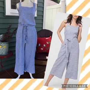 NWT BLL Talia Striped Linen & Cotton Jumpsuit